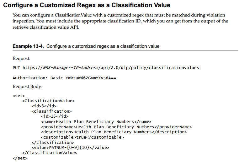 Configure a custom RegEx as classification value
